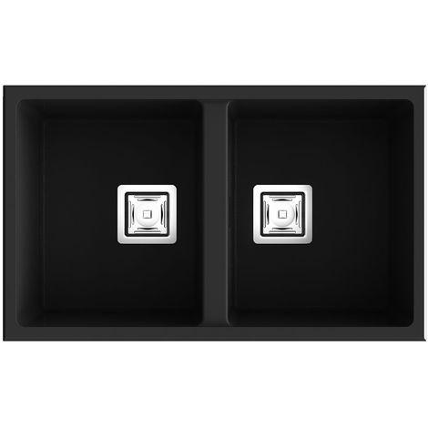 Evier à encastrer - Silika S-174 - Gris Beton - 45x75 cm I Double cuve elegante