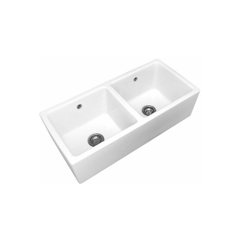 Évier timbre d'office céramique blanc Sarreguemines MELCHIOR 2 bacs
