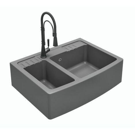 Évier à poser granit gris DILMO 2 bacs