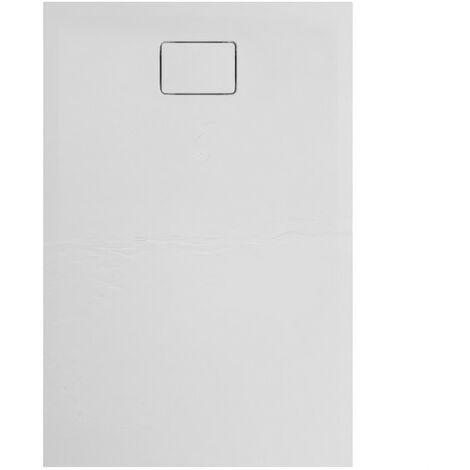 Evier ALLIBERT Receveur de douche effet pierre Terreno - 120x80 cm - Blanc