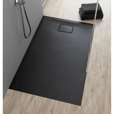 Evier ALLIBERT Receveur de douche effet pierre Terreno - 120x90 cm - Noir