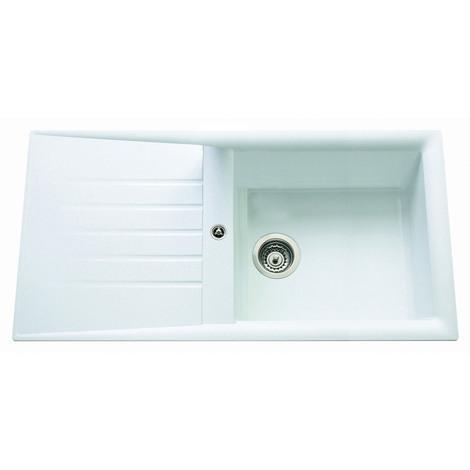 Evier ANCO CAPITOLE blanc à encastrer, 1 grande cuve / 1 égouttoir, 1000x500mm