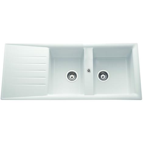 Evier ANCO CAPITOLE blanc à encastrer, 2 cuves / 1 égouttoir, 1160x500 mm