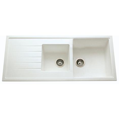 Evier ANCOLINE blanc-granite blanc à encastrer, 2 cuves / 1 égouttoir, 1160x500mm - Granit blanc