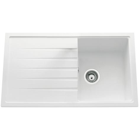 Evier ANCOLINE granite blanc à encastrer, 1 cuve / 1 égouttoir Blanc, 860x500 mm - Granit blanc