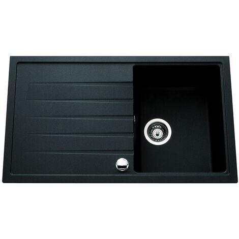 Evier ANCOLINE noir - 1 bac et 1 égouttoir 860x500mm