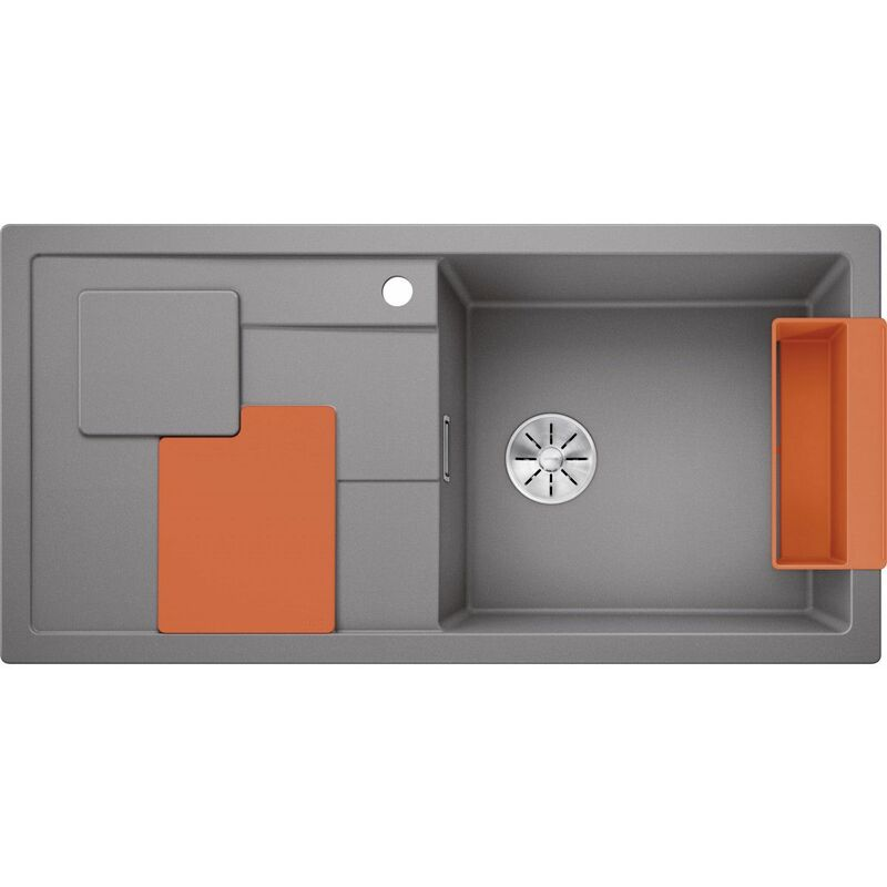 Evier Sity XL 6S Silgranit - Alumetallic - Accessoire : Orange - Blanco