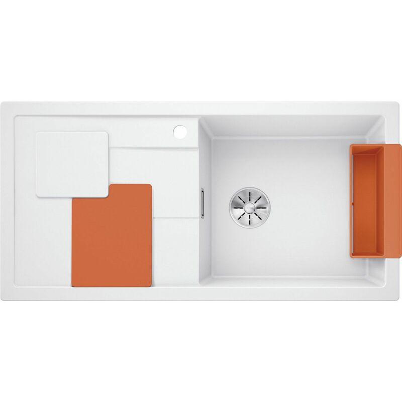 Evier Sity XL 6S Silgranit - Blanc - Accessoire : Orange - Blanco
