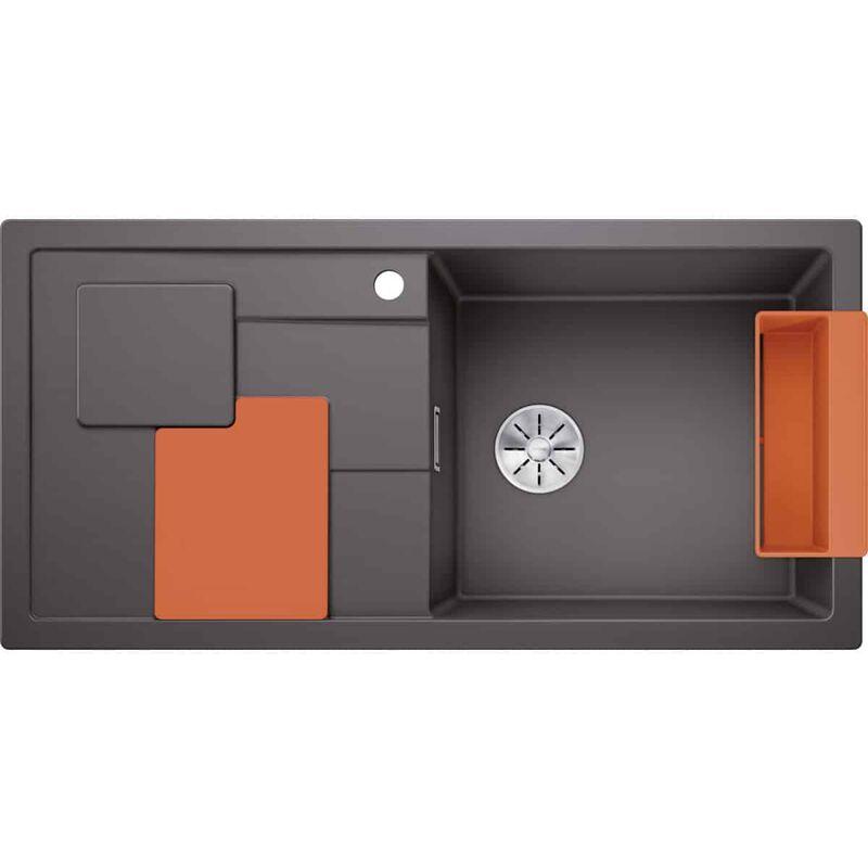 Evier Sity XL 6S Silgranit - Gris Rocher - Accessoire : Orange - Blanco