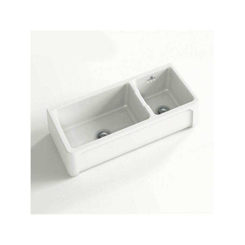 Évier céramique à poser KATE 1 bac 1/2 blanc - Chambord