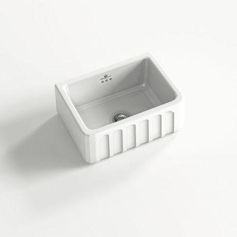 Évier céramique à poser VICTORIA 1 bac blanc 59,5x48 cm