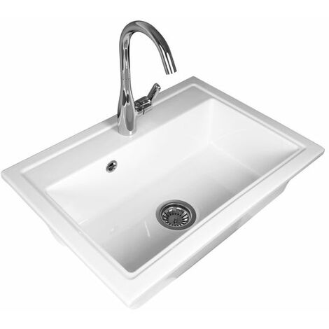 Évier céramique blanc GASPARD 1 bac 700x500 mm