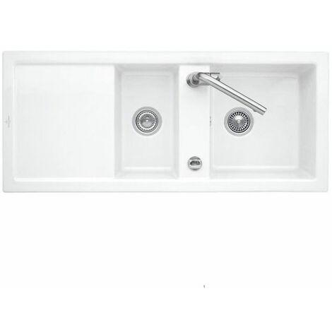 Evier céramique blanc Villeroy & Boch SUBWAY PURE 2 bacs 1 égouttoir