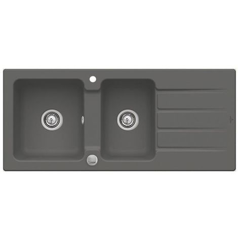 Evier céramique graphite Villeroy & Boch ARCHITECTURA 2 bacs 1 égouttoir