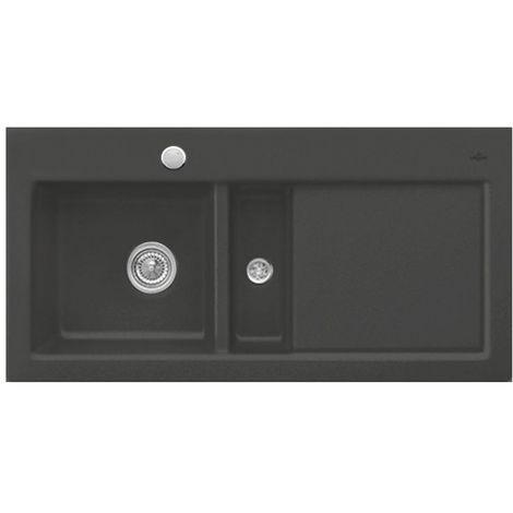Evier céramique noir brillant Villeroy & Boch SUBWAY PURE 1 bac 1/2- égouttoir droite