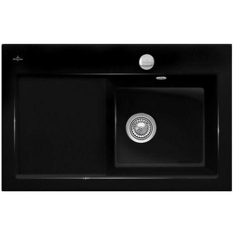 Evier céramique noir brillant Villeroy & Boch SUBWAY PURE 1 bac - égouttoir gauche