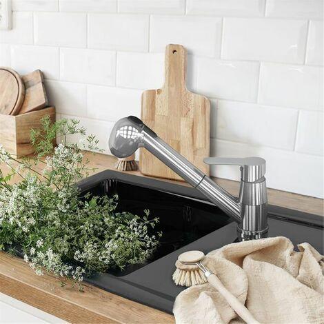 Evier céramique noir mat EWI VICTOIRE 1 bac 1 égouttoir
