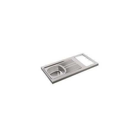 Evier cuisinette en inox 18/10 hauteur 5 cm 1 cuve découpe pour domino vidage complet bonde diamètre 6 cm bouchon plastique