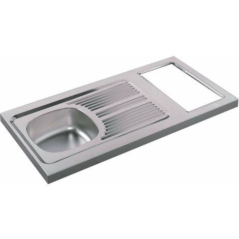 Evier cuisinette en inox 18/10, hauteur 5 cm, 1 cuve, decoupe pour domino, vidage complet, bonde diametre 6 cm, bouchon plastique, MODERNA, Ref. C_R_1