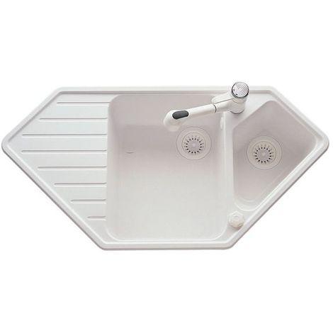 Évier d'angle granit blanc Ewi ULYS 1 bac 1/2 - Égouttoir à gauche