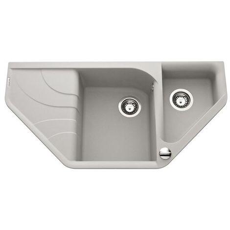 Évier d?angle granit gris métal Elleci AVARA 1 bac 1/2 - Égouttoir à gauche