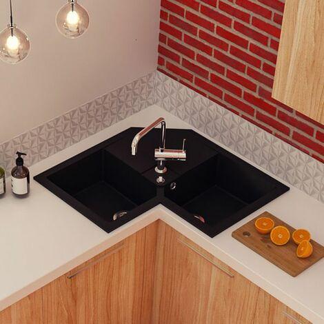 evier d 39 angle granit noir k mbad voz 2 bacs. Black Bedroom Furniture Sets. Home Design Ideas