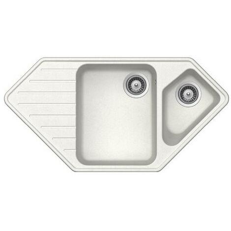 Évier de cuisine Cristalite d'Angle - 979 x 500 x 203 mm - sous-meuble 80 cm - Coloris Alpina - Schock