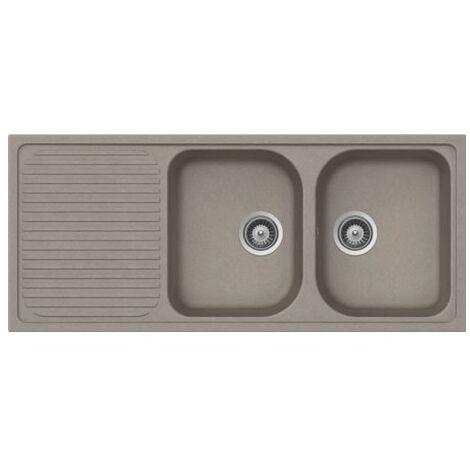 Évier de cuisine Cristalite Scandinave - 1160 x 500 x 205 mm - sous-meuble 80 cm - Coloris Béton Taupe - Schock