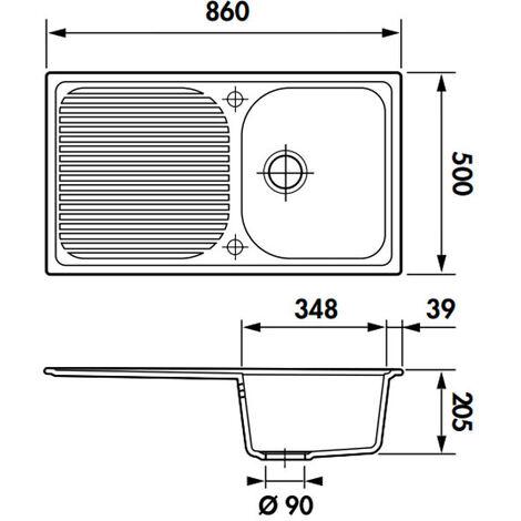 Évier de cuisine Cristalite Scandinave - 860 x 500 x 205 mm - sous-meuble 45 cm - Coloris Alpina - Schock
