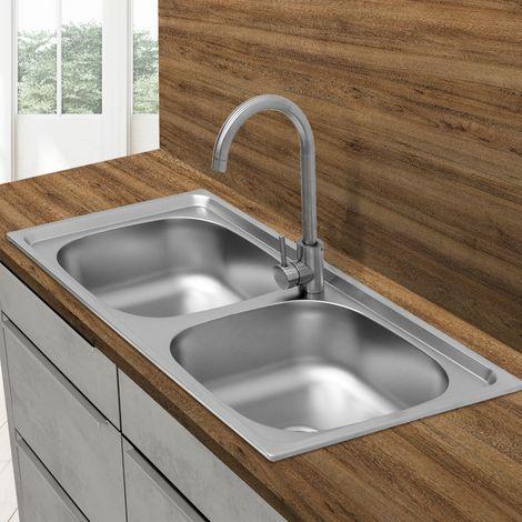 Évier de cuisine double lavabo encastré acier inoxydable vasque bassin 82x48 cm