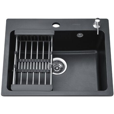 évier de cuisine en composite de granit 58 cm * 48,5cm avec Panier de vidange de taille ajustable et distributeur de savon Évier