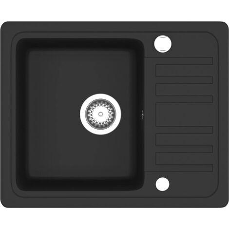 Évier de Cuisine en Granit Bac Unique Noir Décoration Cuisine Maison