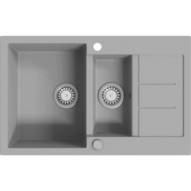 vier de cuisine en granit double bac gris. Black Bedroom Furniture Sets. Home Design Ideas