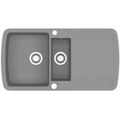 vidaXL /Évier de cuisine encastrable /à 2 bacs en granite blanc cr/ème /Évier /à encastrer