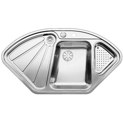 Évier de cuisine en inox Blanco Delta-IF - inox satiné - L 1056 x l 575 x P 175/120 mm - sous-meuble 90x90/70cm - Blanco