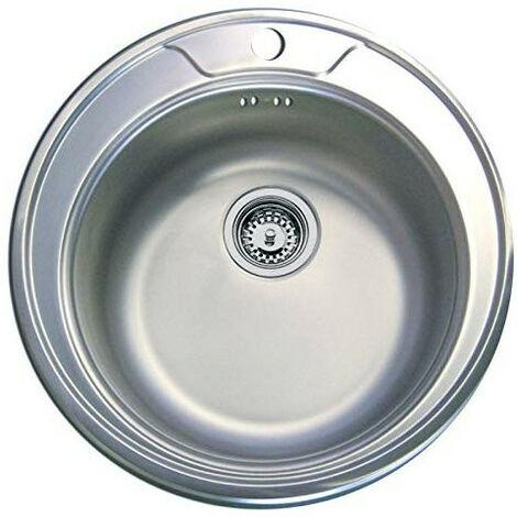 Évier de cuisine en inox gain de place Inox lisse - Ø490 x P 165 mm - sous-meuble de 50 cm- Aquatop