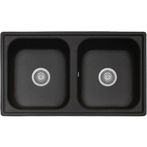 Évier de cuisine en matériau composite noir avec double vasque 86 cm Telma FT0862026 | Noir