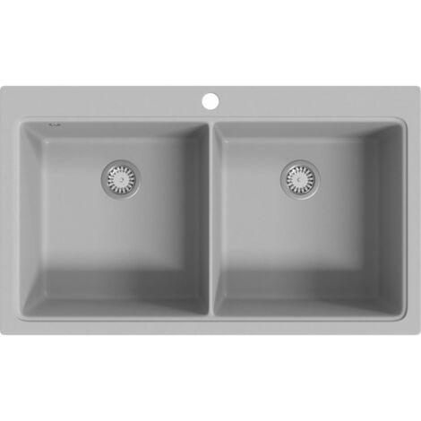 Évier de cuisine encastrable à 2 bacs en granite blanc gris