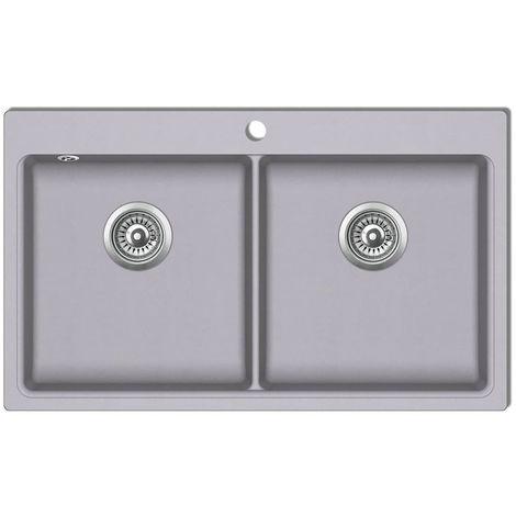 evier de cuisine encastrable a 2 bacs en granite blanc gris