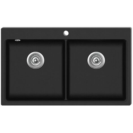Évier de cuisine encastrable à 2 bacs en granite noir