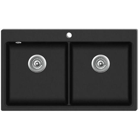 evier de cuisine encastrable a 2 bacs en granite noir
