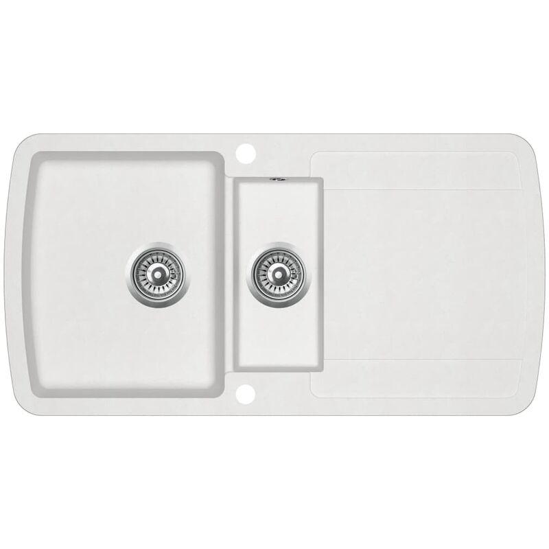 Youthup - évier de cuisine Granit Double lavabo Blanc