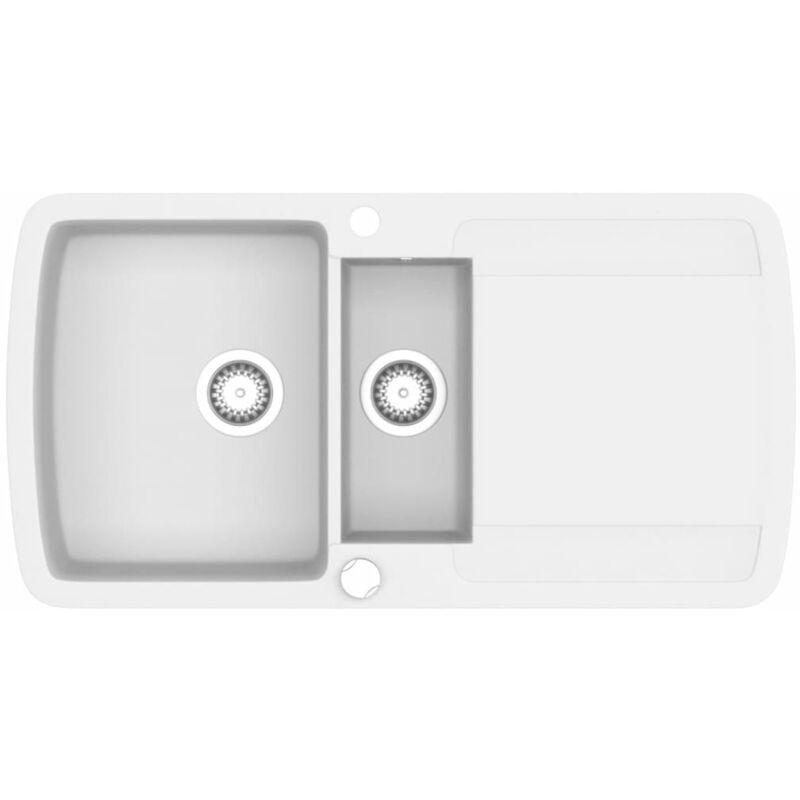 Évier de cuisine Granit Double lavabo Blanc