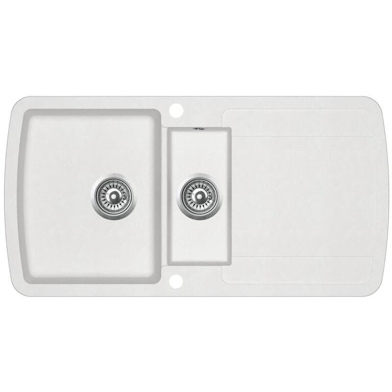 evier de cuisine Granit Double lavabo Blanc