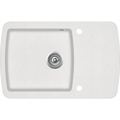 Évier de cuisine Granit Seul lavabo Blanc