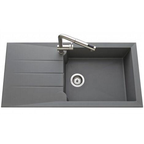 Évier de cuisine gris acier MAJORQUE - L 1000 x l 500 mm X P 215 - sous-meuble 50 cm - Aquatop