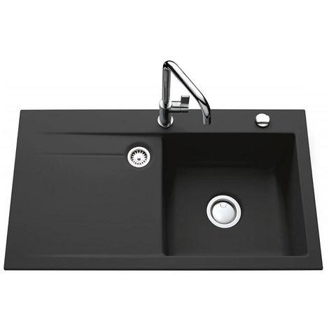 Évier de cuisine gris anthracite STEMA égouttoir à droite - L 900 x l 510 x P 200 mm - sous-meuble 60 cm - Aquatop