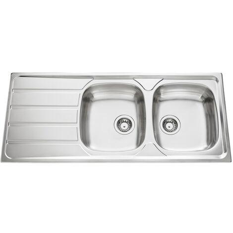 Évier de cuisine Inox lisse Montebello - L 1160 x l 500 x P 160 mm - sous-meuble 60 cm - Aquatop