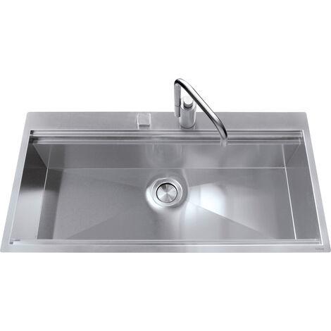 Évier de cuisine Inox lisse Napoli - L 860 x l 500 x P 251 mm - sous-meuble 90 cm - Aquatop