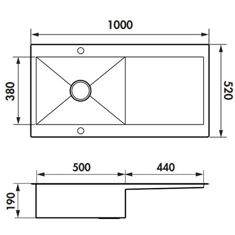 Évier de cuisine Inox lisse ROMA PLUS - L 1000 x l 520 x P190 mm - sous-meuble de 60 cm